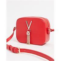 Valentino by Mario Valentino - divina - camera bag rossa con tracolla e nappa-rosso