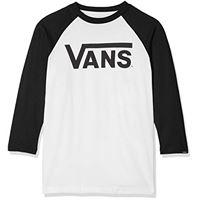 Vans classic raglan t-shirt, bianco (white-black yb2), (taglia produttore: 128 s) bambino