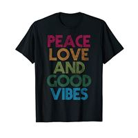 Bahaa's Tee peace love and good vibes graphic t shirt, good vibes quotes maglietta