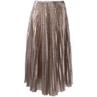 Fabiana Filippi - gonna plissettata con paillettes - women - poliestere/spandex/elastam - 38, 36, 40 - color oro