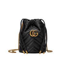 Gucci borsa a secchiello gg marmont mini - di colore nero