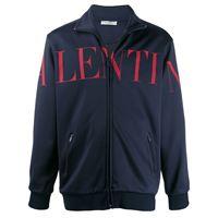Valentino - giacca sportiva con stampa - men - cotone/poliammide - s, m, l, xl - di colore blu
