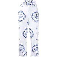 Simone Rocha pantaloni con ricamo crop - bianco