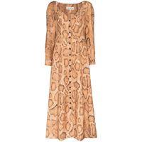 Mara Hoffman - vestito midi silvana con stampa - women - lino/tencel - 12, 16, 14, 18, 10, 6 - color marrone