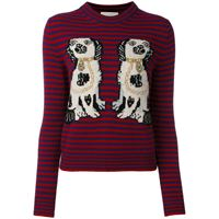 Gucci dog patch stripe top - rosso