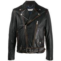 Golden Goose - giacca biker con borchie - men - cotone/pelle di vitello/acetato/viscosa - 48, 50, 52, 54, 46 - color marrone