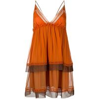 Alberta Ferretti abito corto con scollo a v - arancione