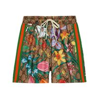 Gucci shorts gg flora con stampa - verde
