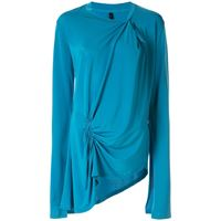 UNRAVEL PROJECT top asimmetrico con ruches - blu