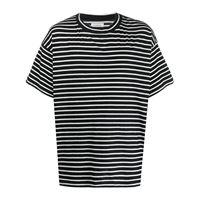 Laneus - t-shirt a righe oversize - men - cotone - xs, s, m - di colore nero