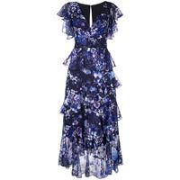 Marchesa Notte vestito increspato a fiori - blu