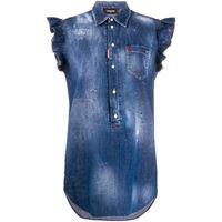 Dsquared2 vestito denim smanicato - blu