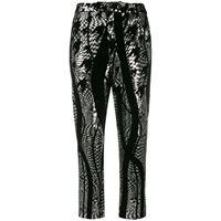 Halpern pantaloni affusolati con paillettes - nero
