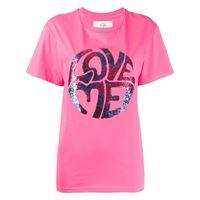 Alberta Ferretti t-shirt love me con decorazione - rosa