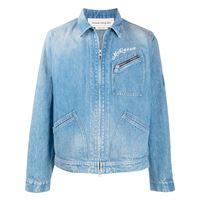 Alexander McQueen - giacca denim con zip - men - cotone/lino - 46, 48 - di colore blu