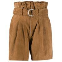 P.A.R.O.S.H. shorts a vita alta - marrone