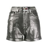 Philipp Plein shorts metallizzati con borchie - argento