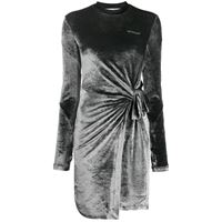 Off-White abito asimmetrico con nodo laterale - grigio
