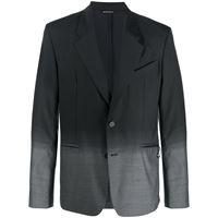 Givenchy - giacca monopetto con effetto sfumato - men - cotone/cupro/viscosa/lana - 50, 52, 48 - di colore nero