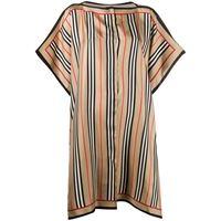 Burberry - icon checked silk cape - women - seta - os - color marrone