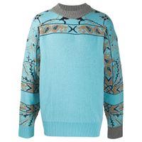 Sacai maglione con stampa paisley - blu