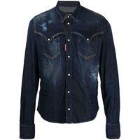 Dsquared2 camicia denim con effetto vissuto - blu