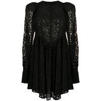 ROTATE vestito midi a fiori - nero