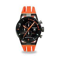 Locman orologio Locman montecristo crono con cassa acciaio e titanio pvd e cinturino silicone arancio 0510knbkfor0goo