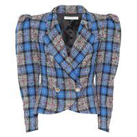 Alessandra Rich blazer in tartan di misto lana