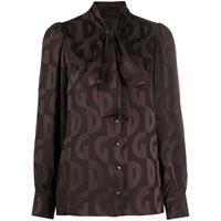 Dolce & Gabbana blusa con stampa dg - marrone