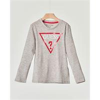 Guess Kids t-shirt grigio melange manica lunga con logo triangolo rosso stampato sul petto 3-7 anni
