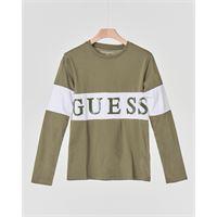 Guess Kids t-shirt verde militare manica lunga con fascia bianca e logo in gomma applicato 10-16 anni