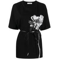 Valentino t-shirt a fiori - di colore nero