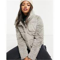 Abercrombie & Fitch - giacca grigia in pelliccia sintetica imbottita-grigio