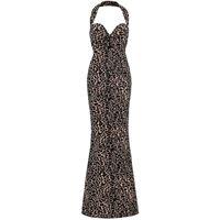 Alaïa abito lungo in jacquard leopardato