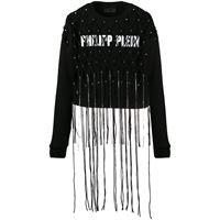 Philipp Plein top crop con frange - nero