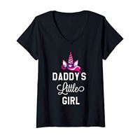 Daddys Lil Girl Shirt for Girls,Women Birthday tee donna daddys little girl shirt, daughter unicorn パパの小さな女の子のユニコーン maglietta con collo a v