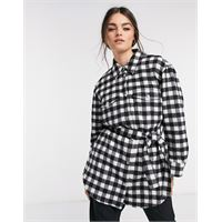 & Other Stories - camicia giacca taglio lungo con cintura nera a quadretti-multicolore