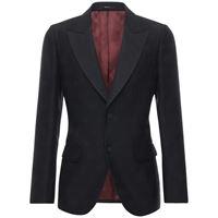 GUCCI giacca in seta e lana jacquard gg
