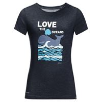 Jack Wolfskin ocean t-shirt, maglietta per bambini, blu notte, 116