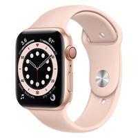 Apple watch series 6 gps e cellular 44mm cassa in alluminio color oro con cinturino sport rosa sabbia