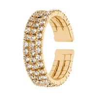 Stroili anello a fascia regolabile dorato e strass multifilo