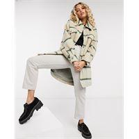 Free People - vienna - camicia giacca in lana spazzolata a quadri crema-bianco