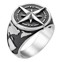 Zancan anello da uomo Zancan vintage in argento con rosa dei venti
