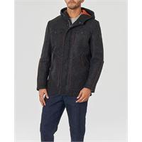 My Stuff giaccone grigio antracite in lana cotta con cappuccio e doppia chiusura zip e bottoni