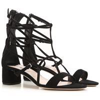 Miu Miu sandali donna in outlet, nero, scamosciato, 2021, 35 36.5 37 37.5 38