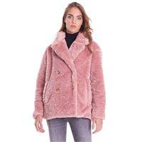 TRUSSARDI JEANS cappotto corto TRUSSARDI JEANS in ecopelliccia rosa