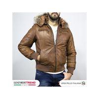 Leather Trend Italy boston - piumino uomo in vera pelle colore cuoio invecchiato