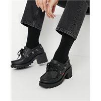 Kickers - klio - scarpe con tacco in pelle nera-nero