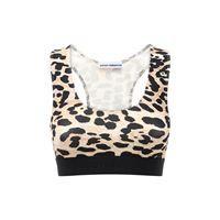 PACO RABANNE crop top in jersey leopard